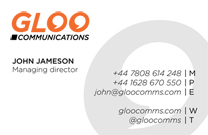 Gloo Communications Business Card Side 2